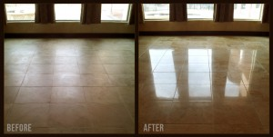 before and after travertine polishing